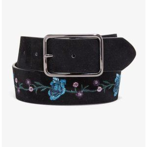Hot Topic Black suede blue roses embroidered belt